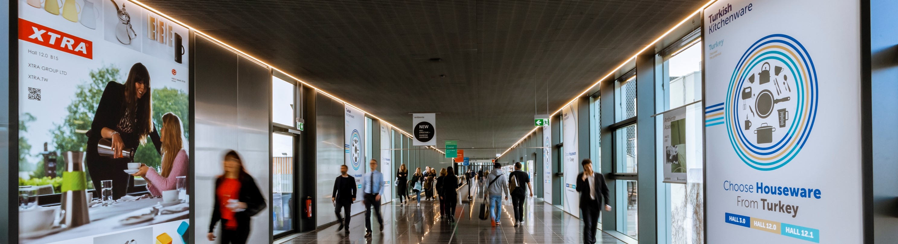 People walk in the Via Mobile of Messe Frankfurt