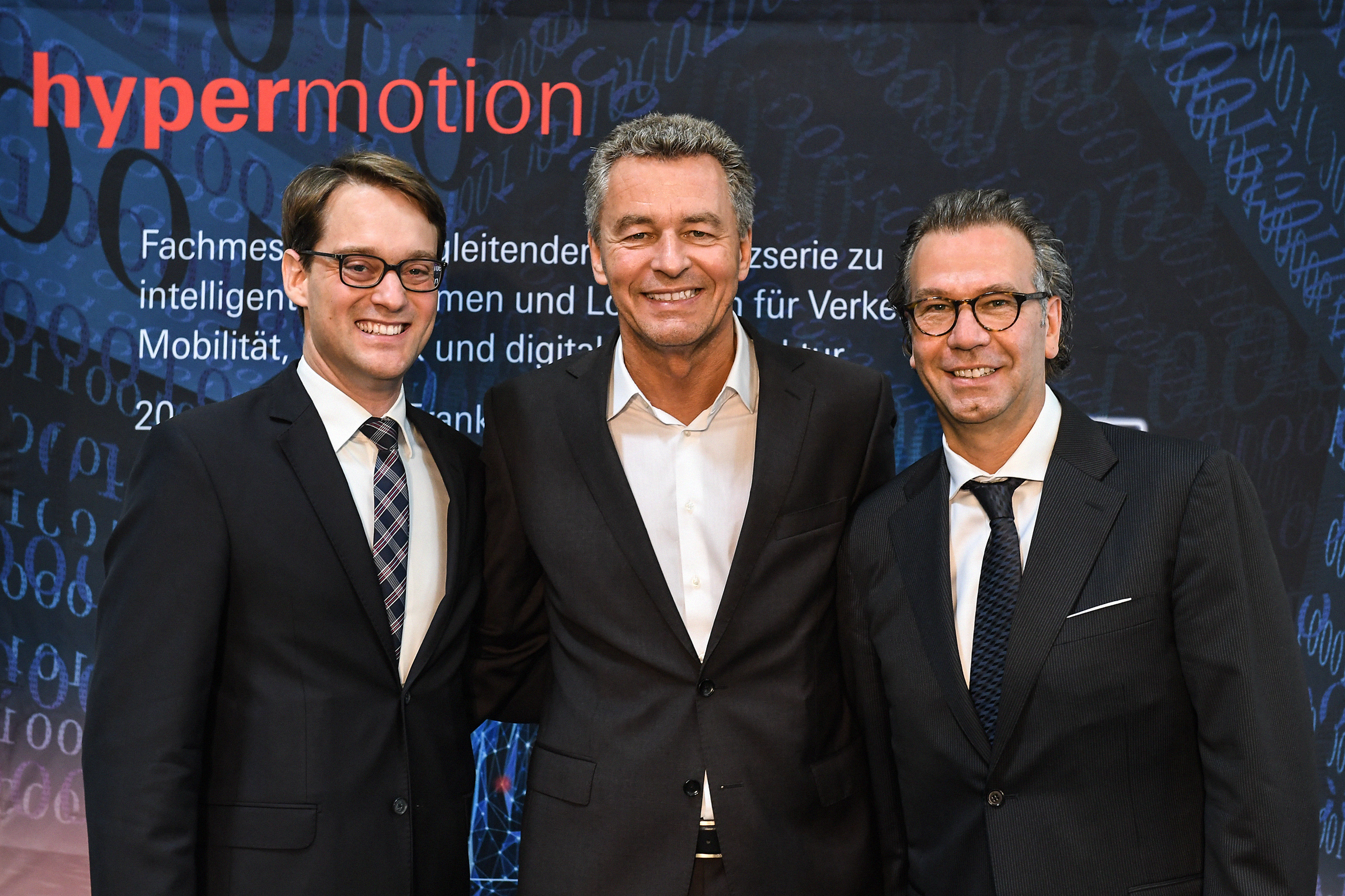 f.l.t.r. Danilo Kirschner - Event Manager Hypermotion, Detlef Braun - Member of the Executive Board of Messe Frankfurt GmbH, Michael Johannes - Vice President Mobility & Logistics